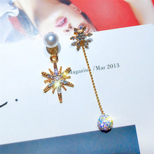 Korean Handmade Silver Needle Anti-allergy Snowflake Pearl Rhinestone Drop Dangle Earrings Fashion Jewelry-BYD5