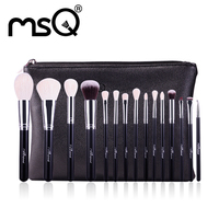MSQ 15pcs Makeup Brushes Set Professional Make Up Brushes High Quality Goat Hair With PU Leather
