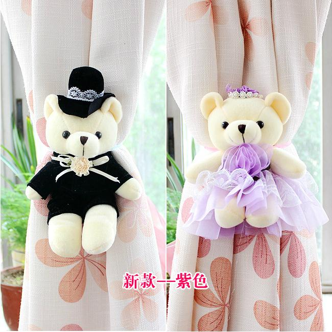 e95257e7998 New cute cartoon couple teddy bear doll curtain buckles curtains ...