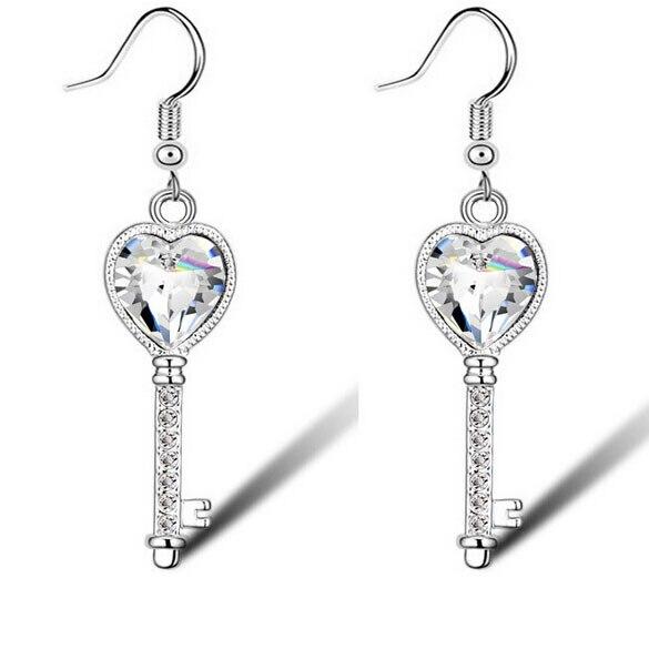 7663e6b2d91fe جديد وصول القلب مفتاح كريستال أقراط للنساء اكسسوارات النيكل الحرة الأزياء  والمجوهرات