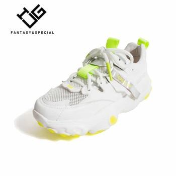 IGU Women Shoes Sneakers 2019 Genuine Leather Fluorescent Mesh Running Outdoor Females Platform Shoes  Tenis Feminino Sneakers