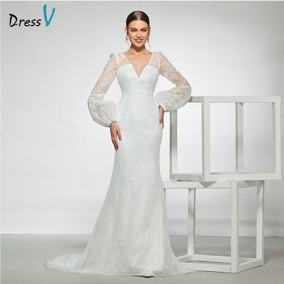 Dressv Elegan Sampel V Leher Garis Appliques Gaun Pengantin Lengan Panjang  Pola Lantai Panjang Sederhana Gaun Pengantin Pernikahan Gaun