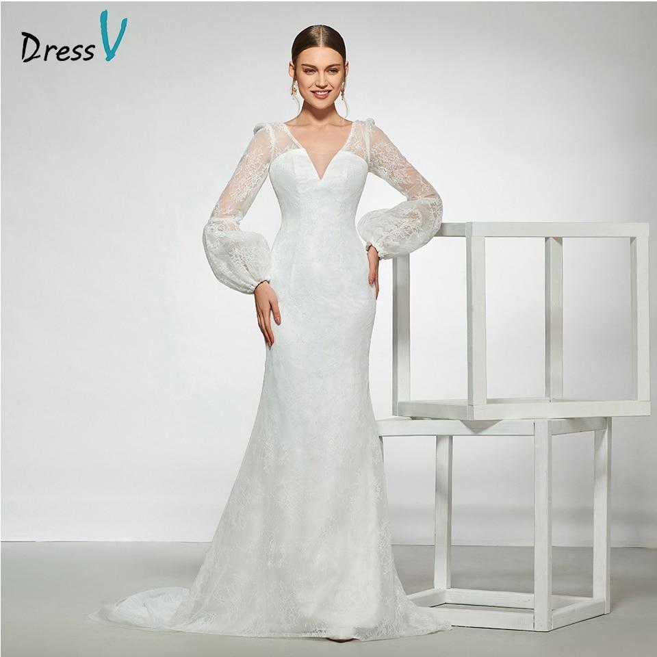 us $166.93 49% off|dressv elegant sample v neck a line appliques wedding  dress long sleeves pattern floor length simple bridal gowns wedding  dress-in
