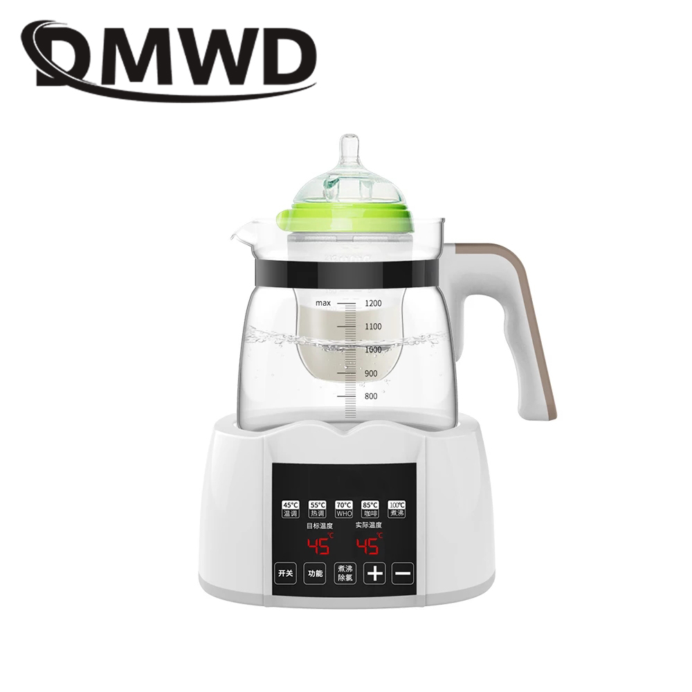 DMWD Milk Bottles Heater sterilizer Baby Feeding Bottle Warmer Thermal Electric kettle Thermostat Glass Heating Boiler Teapot EU