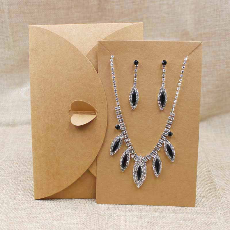 Us 8 82 15 Off 20pcs Kraft Cardboard Large Necklace Packing Wedding Invitation Card Envelop Packing Jewelry Package Custom Logo Available In Gift