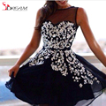 Black Short Sheer Bateau Homecoming Dresses 2016 Tulle Lace Applique A Line Prom Party Gowns Beaded And Crystal Cocktail Dress