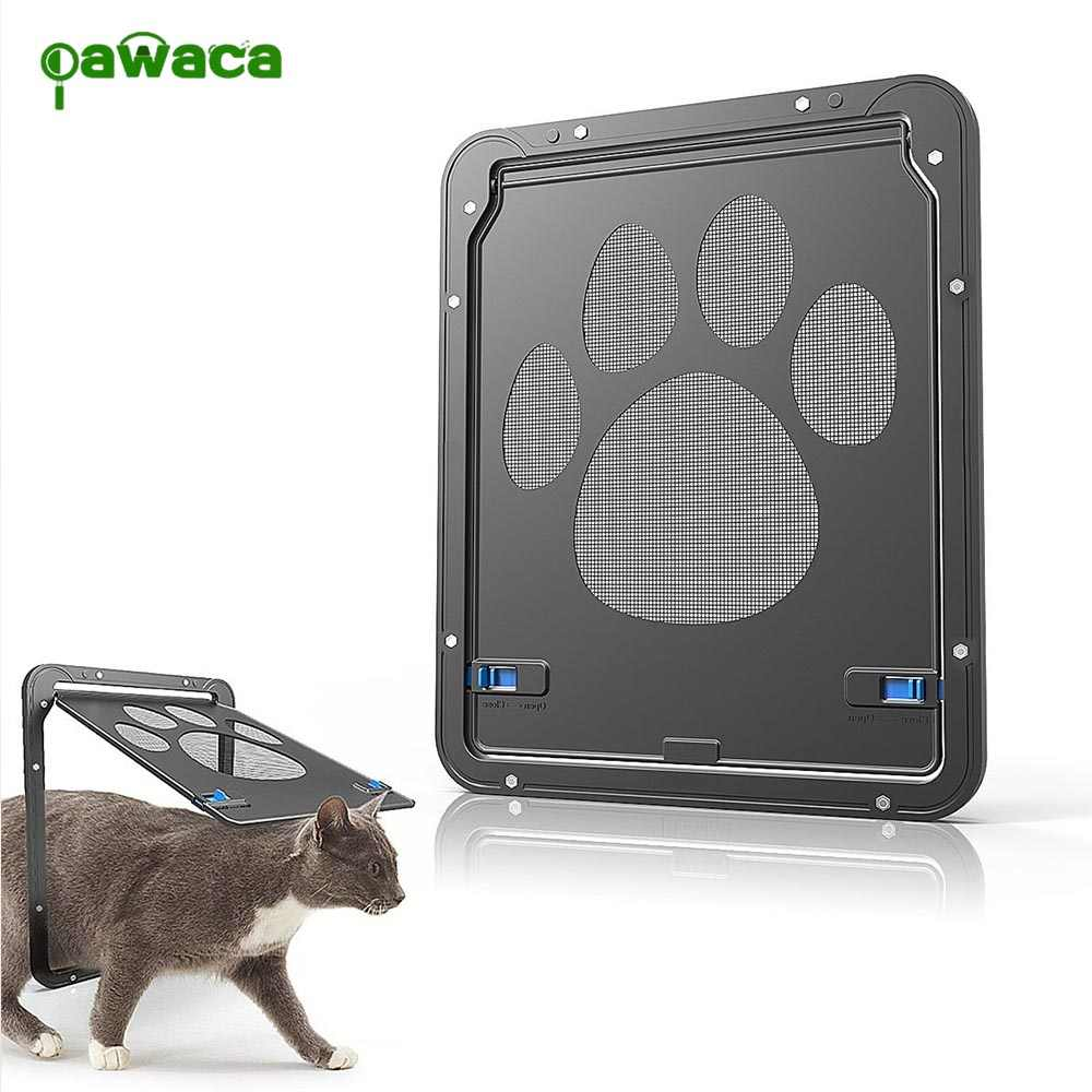 New 1PCS Pet Screen Door Dog Footprint Pattern Pet Cat Door Window Screen Doggie Flap Safe Pet Supplies
