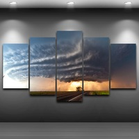 Modular Pictures Wall Art Canvas Home Decor 5 Pieces Big Tree Under A Tornado Painting HD