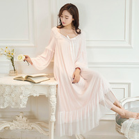 Women Nightgown Modal Female Lace Sexy Sleepwear Retro Long sleeved Nightgown Casual Daily Sweet Girl Princess Palace Style