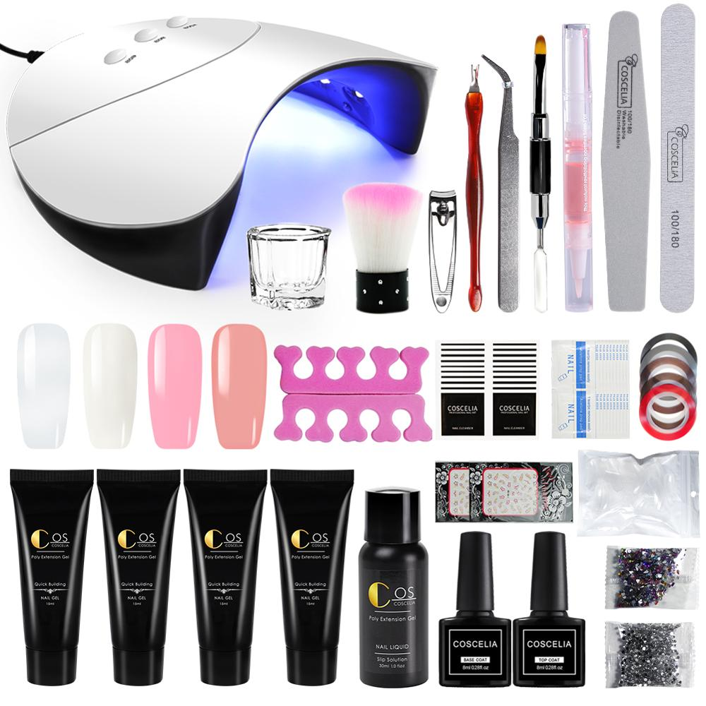 Poly Gel Manicure Set Extension Hard Jelly Gel LED UV Lamp Nail Polish Art Nail Tools Kit Quick Acrylic Builder Gel For Nail Art in Sets Kits from Beauty Health