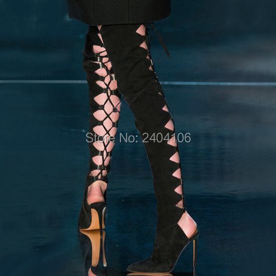 Zapatos Mujer Sexy Cut Outs Slingbacks Strappy Long Botas Pointed Toe Over The Knee Boots Black Suede Lace Up Thigh High Boots 2017 new arrival party dress shoes women peep toe high heel botas mujer cut outs over the knee boot lace up thigh high boots
