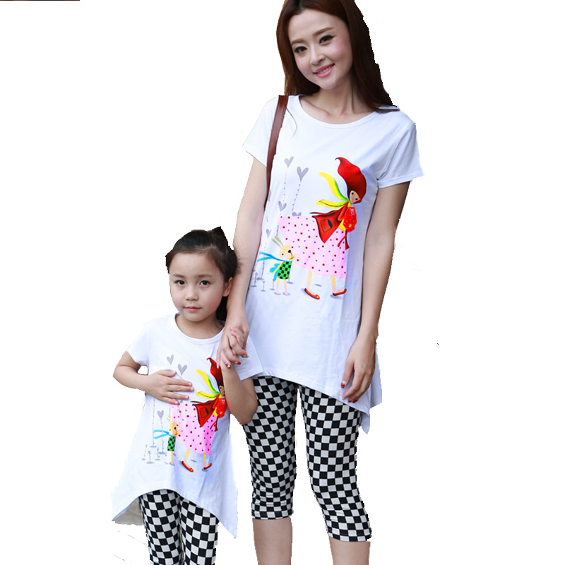 Mother and Daughter Clothes Set Baby Mom Matching Family Casual Family Clothing Mae E Filha Summer Style Mommy and Me Clothes