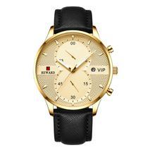 цена REWARD Military Sport Fashion Men Watch Top Quality Luxury Quartz Watches Clock Leather Band  Watch JD-RD83003M онлайн в 2017 году