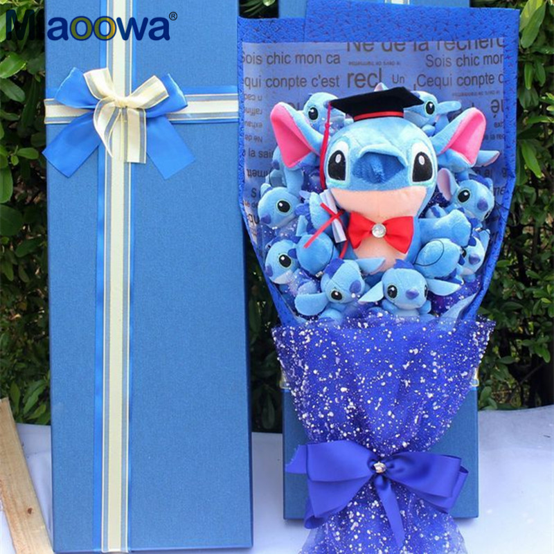 1 pc Artificial Cute Cartoon Plush Toys Stitch Festival Gift Bouquet with Fake Flowers Valentine Graduation Gift Party Decor