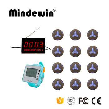 Mindewin Wireless Calling Systems For Kitchen, Hospital, KTV, Coffee Shop, 12 Pagers Bells +1 Wrist Watch +1 Display Rec