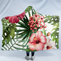 Flowers Hooded Blanket Leaves Red Green Sherpa Fleece Wearable Blanket Tropical Plants Throw Blanket 150x200cm