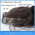 lace tape 100% super seiss lace 10inch x 8inch  Men's Toupee Indian Remy  Hair Natural   Wave Men's Wig / Hair Replacement