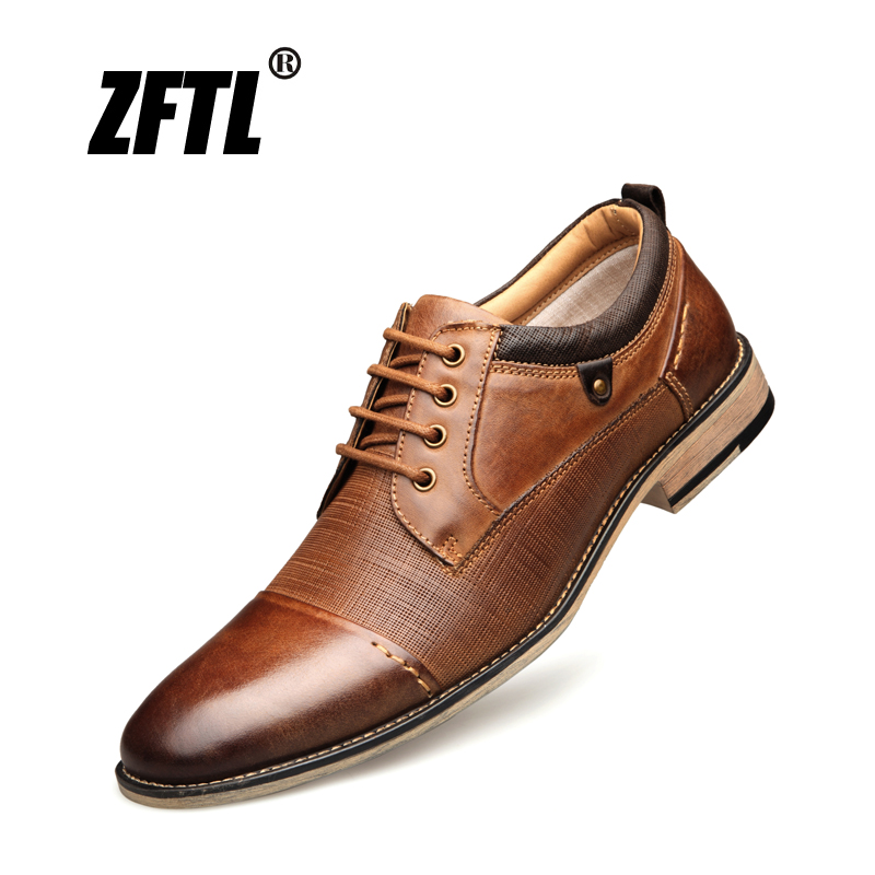 ZFTL New Man Dress shoes Big size Cow Leather Men's Business shoes Lace-up Men formal shoes fashion male Handmade shoes Brown 01