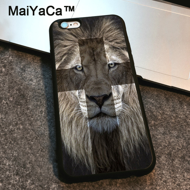 Maiyaca Christian Cross Lion Symbolism Printed Case For Apple Iphone