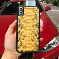 Handy Zubehör für iphone 8 plus fall Luxus gelb python haut beliebteste handy-fällen für iphone X SE 6 6 S plus
