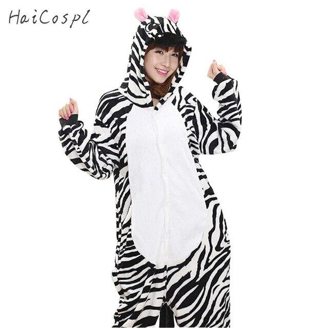 7bde38f1a Cebra pijama fiesta Animal mono de las mujeres chica ropa de dormir de raya  negro Anime