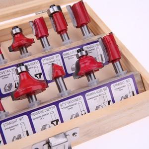 "Image 4 - 15Pcs/Set 1/4"" Shank Tungsten Carbide Router Bit Set Wood Milling Machines Milling Cutter Wood Cutters Router Bit Set for Wood"