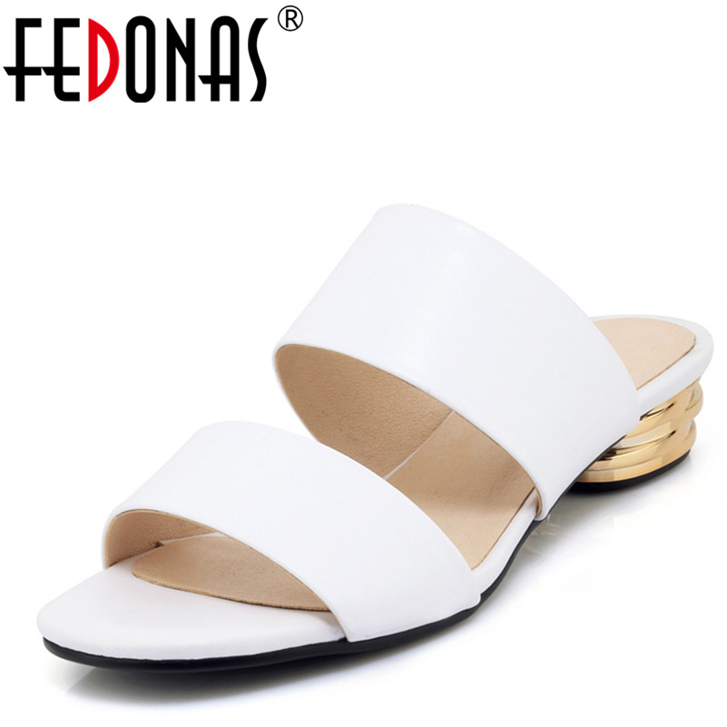 FEDONAS Rome Style Women Genuine Leather Shoes Woman 2018 New Summer High Quality Slippers High Heeled Summer Sandals Women