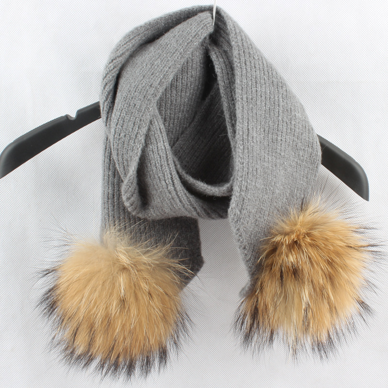 120cm Crochet Children Scarf Wool Knitted Winter Fur Scarves With Detachable Real Raccoon Fur Pom Poms