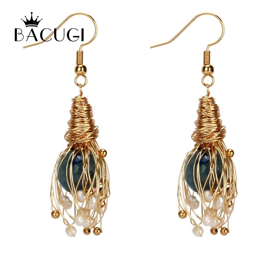 Trendy 14KGF Handmade Winding Pearl Drop Earrings For Women White Baroque Freshwater Pearl