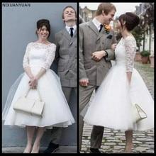 2020 elegante cuello Bateau Simple línea A vestidos de novia cortos manga 3/4 Petite vestidos de boda de encaje para novia de talla grande