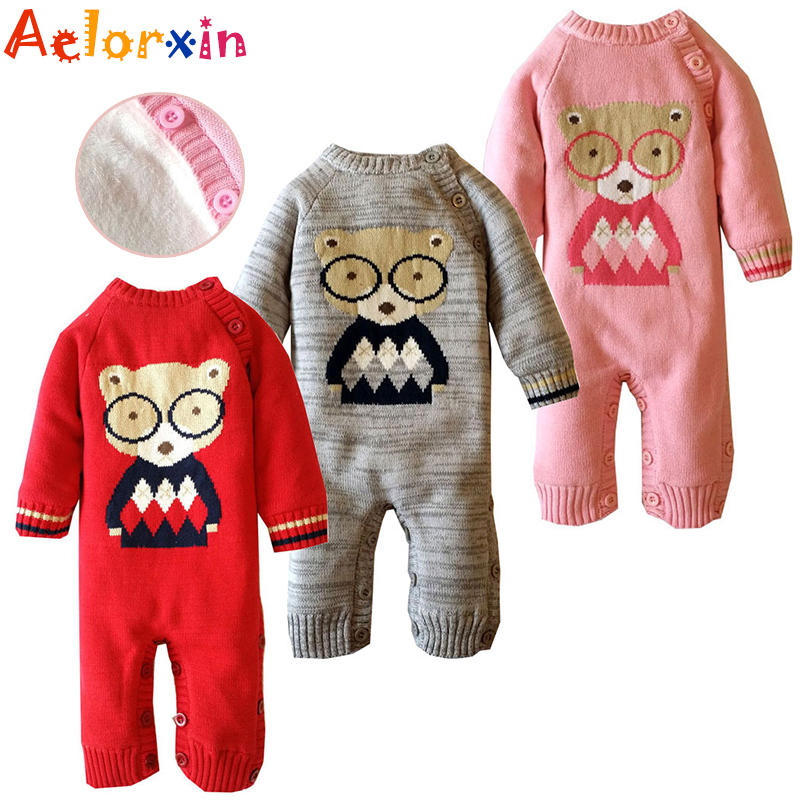 Winter Soft Cotton Thick Baby Boy Girl Rompers Newborn Long Sleeve Cute Cartoon Bear Fleece Bebes Costume Warm Toddler Jumpsuit t100 children sweater winter wool girl child cartoon thick knitted girls cardigan warm sweater long sleeve toddler cardigan