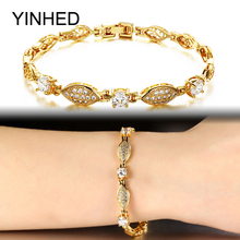 YINHED New Trendy Luxury Bridal Wedding Bracelets Bangles Gold Color Jewelry AAA+ Cubic Zirconia Bracelet for Women ZB444