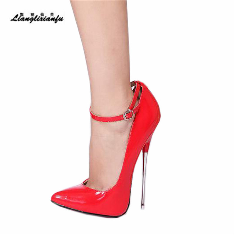LLXF Shoes woman Crossdresser Sexy 16cm Thin High heeled Ankle strap zapatos mujer Pointed Toe Stiletto