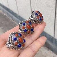 Настоящие хорошие драгоценности чистого серебра s925 100% натуральный Синий Лазурит драгоценных камней фото кольца Tibatan тонких колец Для Мужчи