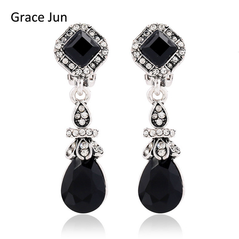 Grace Jun Black Vintage Bohemia Style Waterdrop  Clip Earrings No Pierced for Women Elegant Resin and Rhinestone Clip Earrings