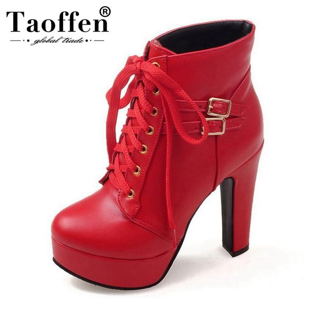 b151db15b3d3d3 Taoffen femmes chaussures femmes bottines à lacets bottes à talons hauts  talons minces fourrure à l