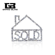 Fancy Design Clear Rhinestone HOUSE SOLD Lapel Pin  FREE SHIPPING!!!