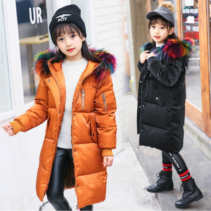 2018 design thick children girl long jackets fur hooded down kids big school girl coat overcoat for -40 degree Russia winter 2017 new design girl boy thick jackets real fur hooded long coat kids big girl for cold russia winter clothing dress overcoat
