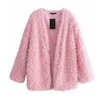 Pink Lamb Faux Fur Coats Long Sleeve Warm Winter Jackets Fluffy Curly Hairy Wool Fur Coat Women Streetwear Cardigans Outerwears