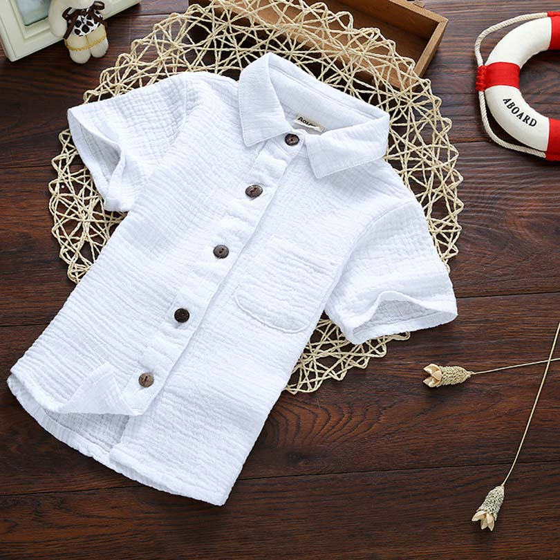 Linen Cotton Summer Brand   Blouses   Children Boy Kids Baby Tops Tee Comfortable Gentleman 2-9Y