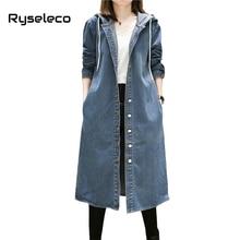 Фотография Ryseleco Women Denim Trench Coat Quality 2017 Fall New Vintage BF Style Plus Size Women Clothing X-Long Hooded Jeans Overcoats