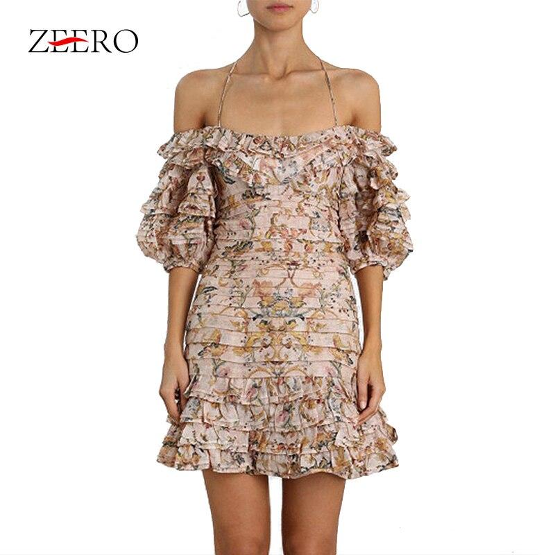 2019 Summer Print Beach Style Fashion Girl Off Shoulder Ruffle Short Lantern Sleeve Women Mini Dress