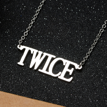 Korean Fashion KPOP TWICE Name Letter Stainless Steel Pendant Necklace Friend Gift Collection