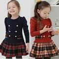 Весна и Осень девочка одежда отличное качество хлопка детей платья для девочек мода дешевые детская школа студенты платья