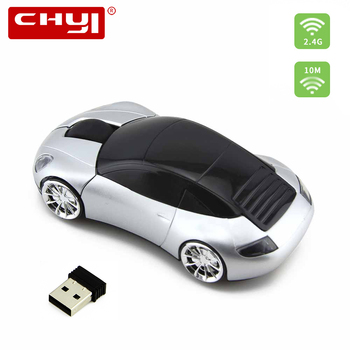 CHYI Wireless Mouse Super Car Shaped Game Mice 2.4Ghz 1200 DPI Optical USB 2.0 Receiver With Front Light For PC Laptop Computer image