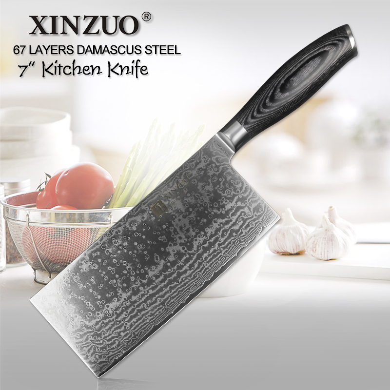 XINZUO 7 inch Slicing Knife Japanese VG10 Damascus Forged Steel Kitchen Chef Knives Razor Sharp Knife