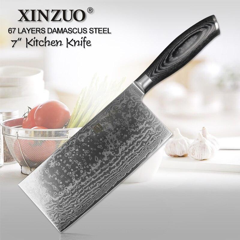 XINZUO 7 ''pouces Tranchage Couteau Japonais VG10 Damas En Acier Forgé Cuisine Chef Couteaux Rasoir Couteau Outils Pakka Bois poignée