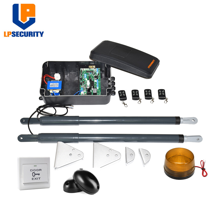LPSECURITY DC12V AC220V Linear Actuator Worm Gear Automatic Swing Gate Opener photocells lamp button gsm keypad