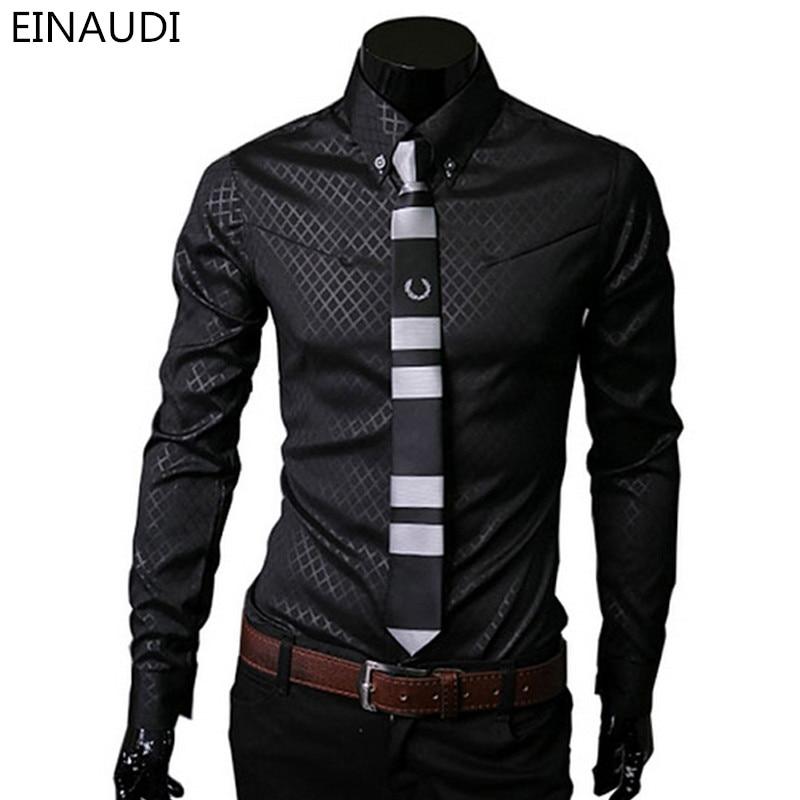 Men Plaid Shirts Brand 5XL 2016 New Mens Dress Shirts Long Sleeve Slim Casual Black White Social Male Clothes Chemise Homme 25