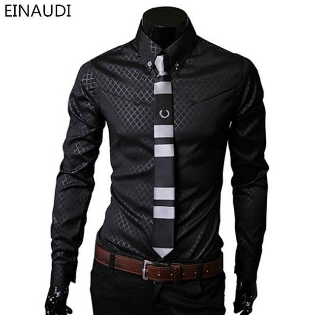 272e818e6 الرجال منقوشة القمصان العلامة التجارية 5xl 2016 جديد رجالي قمصان طويلة كم  ضئيلة الذكور الملابس قميص
